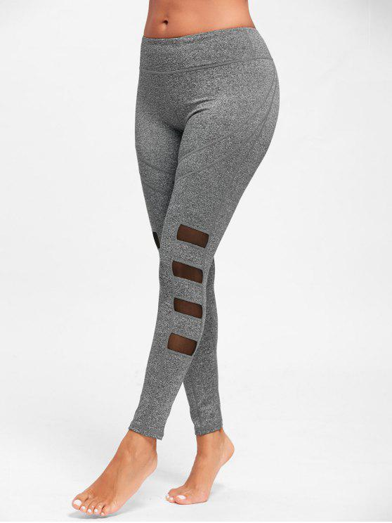 7901473be8 17% OFF] 2019 Mesh Insert Workout Tights In GRAY | ZAFUL