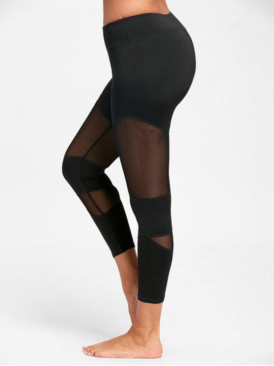chic Sheer Workout  Leggings with Mesh Panel - BLACK XL