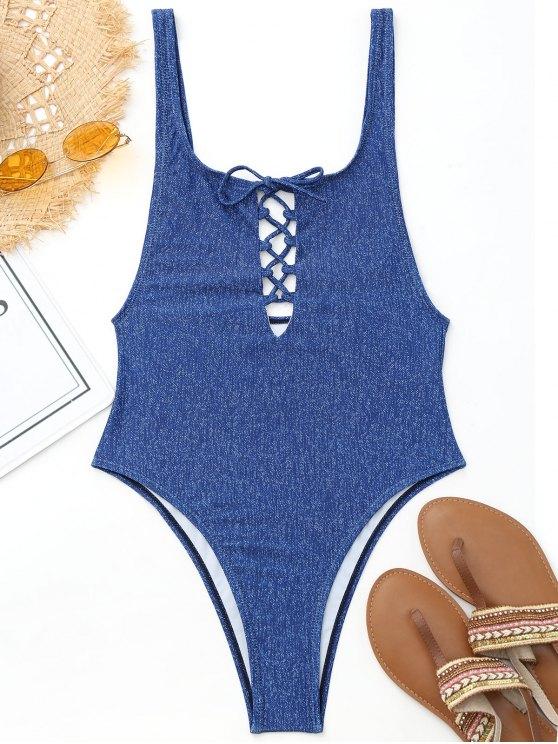 عالية قطع الدانتيل يصل قطعة واحدة ملابس السباحة - أزرق S