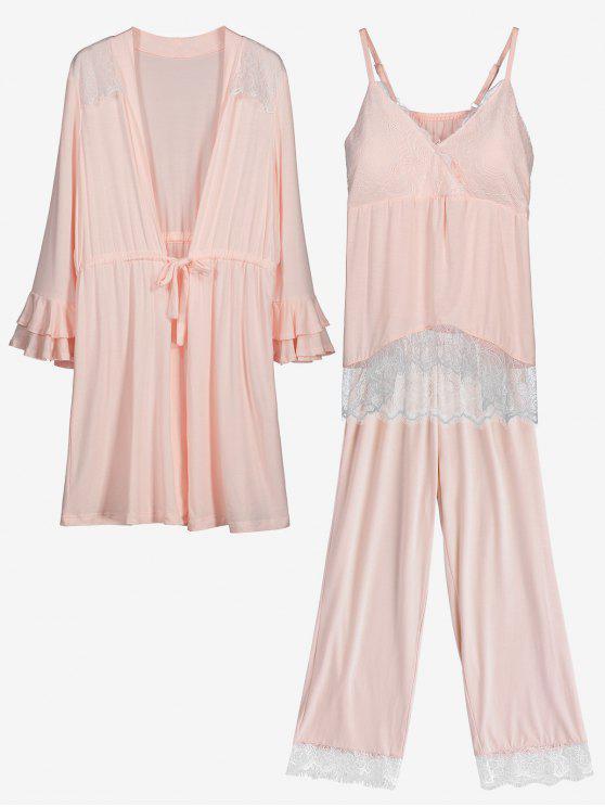 fashion Loungewear Lace Trim Cami Top with Pants with Kimono - SHALLOW PINK M
