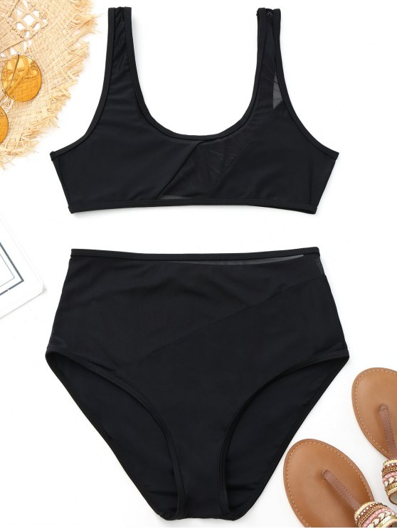 fancy Mesh Insert High Waisted Sports Bikini - BLACK S