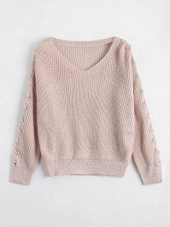 V Neck Lace Up Sleeve Sweater - Light Apricot Pink