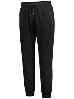 Zip Pocket Drawstring Jogger Pants - Black 3xl