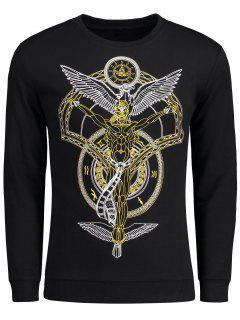 Patterned Crew Neck Sweatshirt - Black 4xl