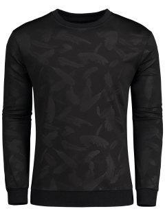 Feather Printed Crew Neck Sweatshirt - Black 3xl