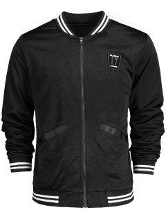 Badge Patched Baseball Jacket - Black 3xl