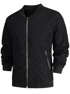 Zipper Pocket Letter Bomber Jacket - Black 3xl