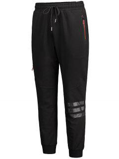 Casual Zip Pocket Drawstring Jogger Pants - Black Xl