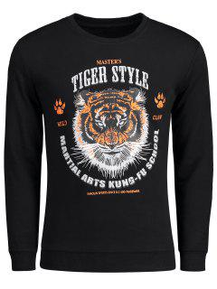 Graphic Tiger Style Sweatshirt - Black Xl