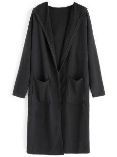 Drop Shoulder Hooded Coat With Pockets - Black