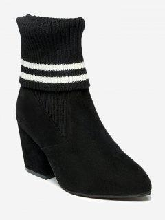 Pointed Toe Mid Heel Striped Boots - Black 39/7.5