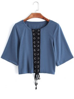 Contrasting Lace Up Cropped Top - Blue L