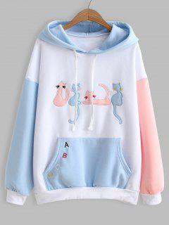Contrasting Drawstring Cat Letter Embroidered Hoodie - White