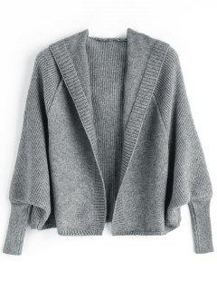 Open Front Plain Hooded Cardigan - Deep Gray