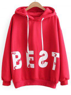 Oversized Drawstring Cat Letter Hoodie - Red