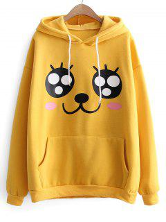 Oversized Drawstring Cartoon Hoodie - Yellow
