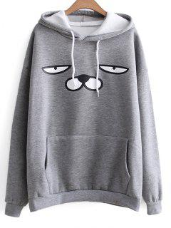 Oversized Drawstring Cartoon Hoodie - Gray