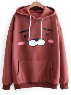 Oversized Drawstring Cartoon Hoodie - Brick-red