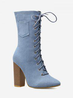 Denim High Heel Mid Calf Boots - Light Blue 35/5.5