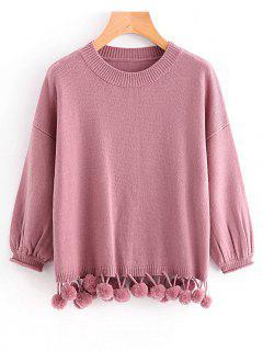 Suéter Con Capucha De Pompones De Manga De Linterna - Púrpura Rosácea