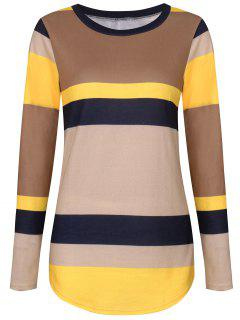 Sequine Patch Color Block Long Sleeve Tee - Yellow Xl