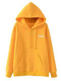 Pocket Drawstring Loose Letter Hoodie - Yellow L