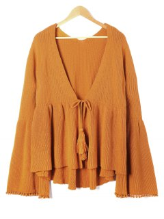 Plus Size Flare Sleeve Tassel Tie Up Cardigan - Gold Brown Xl