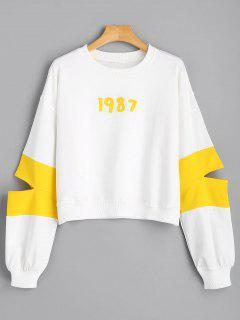 Number Appliqued Cut Out Sweatshirt - White M