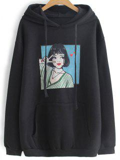 Oversized Drawstring Character Hoodie - Black