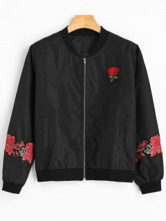 Flower Appliqued Zippered Bomber Jacket - Black M