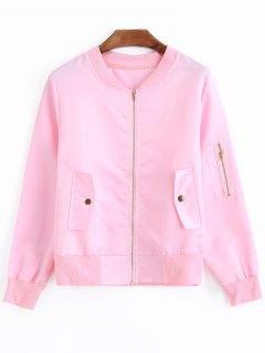 Snap Buttoned Bomberjacke Mit Reißverschluss - Pink S