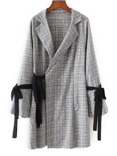 Long Sleeve Checked Wrap Dress - Checked S