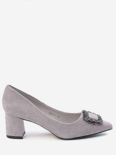 Pointed Toe Chunky Heel Rhinestone Pumps - Suede Rose 39