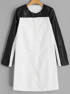 Snap Button Faux Leather Panel Coat - White S