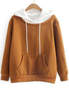 Two Tone Letter Embroidered Hoodie - Light Brown