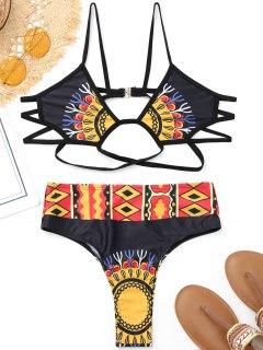 Banded Printed High Cut Bikini - Black M