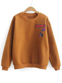 Loose Sports Letter Patches Sweatshirt - Light Brown