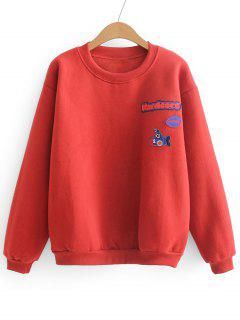 Loses Sport-Buchstabe-Flecken-Sweatshirt - Rot
