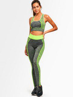 Color Block Heathered Racerback Gym Suit - Neon Green
