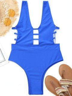 Hohe Bein-Leiter-herausgeschnittene Badebekleidung - Blau L