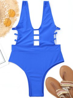 Hohe Bein-Leiter-herausgeschnittene Badebekleidung - Blau S