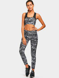 Sports Racerback Patterned Bra With Pants - Black