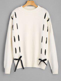 Selbstbindung Bowknot Drop Shoulder Sweater - Beige (weis)