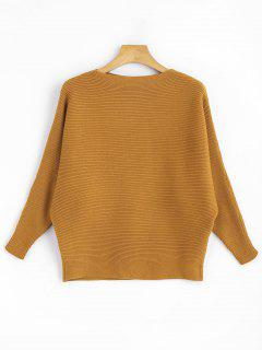 Slash Neck Dolman Sleeve Knitted Top - Ginger