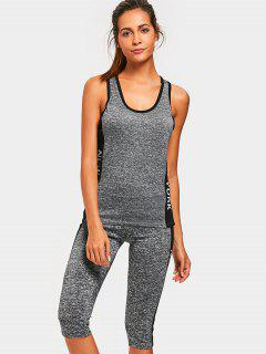 Heathered Top With Capri Pants Sweat Suit - Black