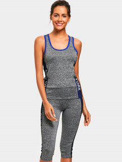 Heathered Top With Capri Pants Sweat Suit - Blue