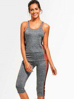 Heathered Top With Capri Pants Sweat Suit - Orange
