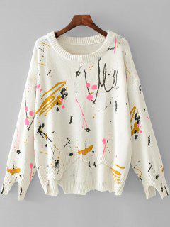 Jacquard Frayed Asymmetrical Pullover Sweater - White L
