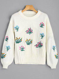 Lanternärmel Floral Patched Sweater - Beige (weis)