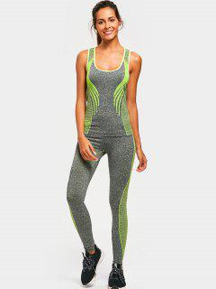 Racerback Heathered Top With Pants Gym Set - Neon Green